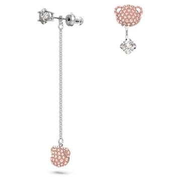Teddy pierced earrings, Asymmetrical, Bear, Pink, Rhodium plated - Swarovski, 5597924
