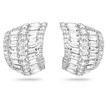 Hyperbola 穿孔耳環, 大顆, 白色, 鍍白金色 - Swarovski, 5598344