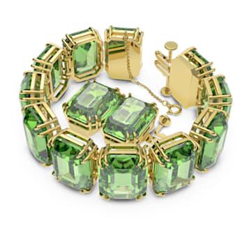 Bracelet Millenia, Cristaux octogonaux, Vert, Placage de ton or - Swarovski, 5598347