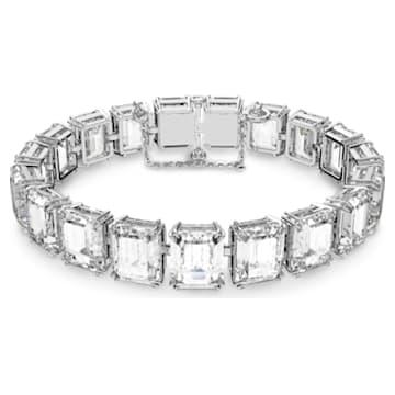 Bransoletka Millenia, Małe kryształy w szlifie ośmiokątnym, Biały, Powłoka z rodu - Swarovski, 5598349