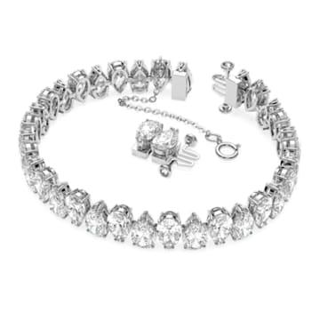 Millenia bracelet, Pear cut Swarovski Zirconia, White, Rhodium plated - Swarovski, 5598350