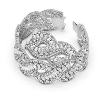 Hyperbola bracelet, Wave, White, Rhodium plated - Swarovski, 5598351