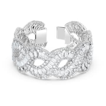 Hyperbola 手链, 波浪形切割, 白色, 镀铑 - Swarovski, 5598351