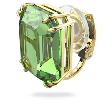 Cercei cu clip Millenia, Fără pereche, Verde, Placat cu auriu - Swarovski, 5598358