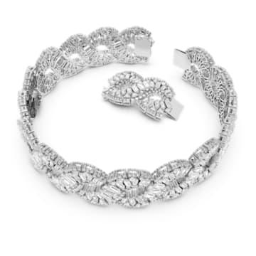Hyperbola 束颈项链, 波浪形切割, 白色, 镀铑 - Swarovski, 5598359