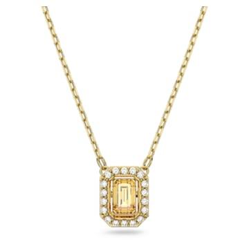 Colar Millenia, Swarovski Zirconia quadrada, Amarelo, Lacado a dourado - Swarovski, 5598421