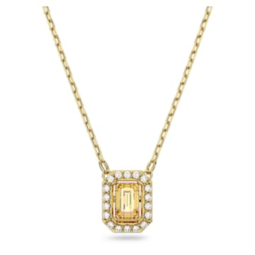 Millenia 项链, 八角形切割 Swarovski 皓石, 黄色, 镀金色调 - Swarovski, 5598421