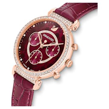 Passage Chrono Watch, Leather strap, Red, Rose-gold tone PVD - Swarovski, 5598689