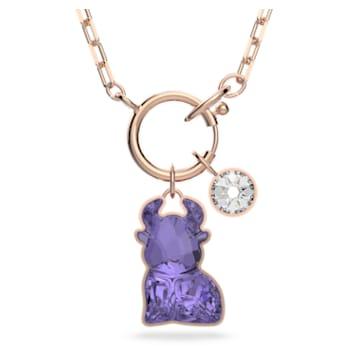 Chinese Zodiac 项链, 紫罗兰, 镀玫瑰金色调 - Swarovski, 5599139