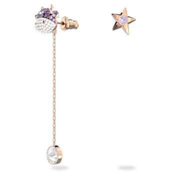 Little 穿孔耳环, 不对称, Ox, 紫色, 镀玫瑰金色调 - Swarovski, 5599158