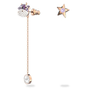 Little 穿孔耳环, 紫罗兰, 镀玫瑰金色调 - Swarovski, 5599158