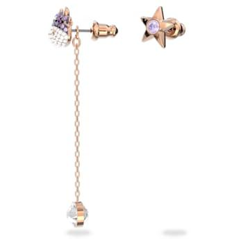 Little earrings, Asymmetrical, Ox, Purple, Rose-gold tone plated - Swarovski, 5599158