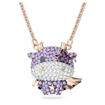 Little 鏈墜, 牛, 紫色, 鍍玫瑰金色調 - Swarovski, 5599162