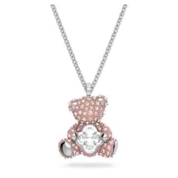 Teddy 链坠, 熊, 粉红色, 镀铑 - Swarovski, 5599168