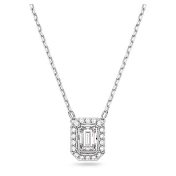 Millenia Halskette, Swarovski Zirkonia mit Quadrat-Schliff, Weiss, Rhodiniert - Swarovski, 5599177