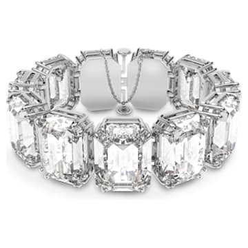 Pulsera Millenia, Cristales talla octagonal, Blanco, Baño de rodio - Swarovski, 5599192