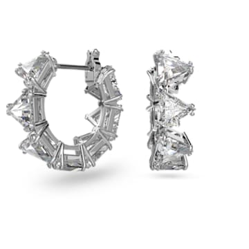 Millenia hoop earrings, Triangle Swarovski Zirconia, Multicolored, Rhodium plated - Swarovski, 5599199