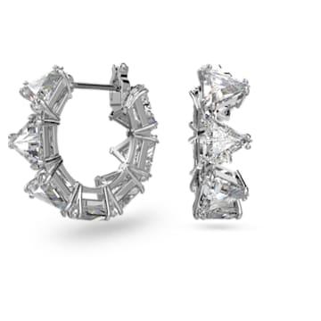 Millenia hoop earrings, Triangle Swarovski zirconia, White, Rhodium plated - Swarovski, 5599199