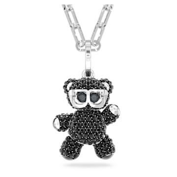 Teddy 链坠, 黑色, 镀铑 - Swarovski, 5599282