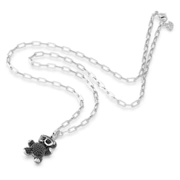 Teddy Pendant, Black, Rhodium plated - Swarovski, 5599282