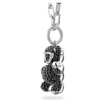 Teddy 链坠, 熊, 黑色, 镀铑 - Swarovski, 5599282