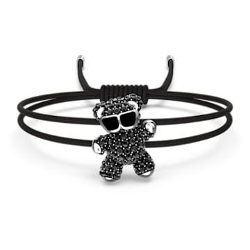 Teddy bracelet, Bear, Black, Rhodium plated - Swarovski, 5599283