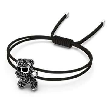 Teddy Bracelet, Black, Rhodium plated - Swarovski, 5599283