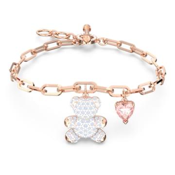 Teddy bracelet, Bear, Pink, Rose-gold tone plated - Swarovski, 5599284