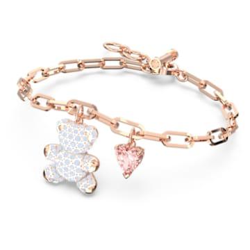 Teddy 手链, 熊, 粉红色, 镀玫瑰金色调 - Swarovski, 5599284