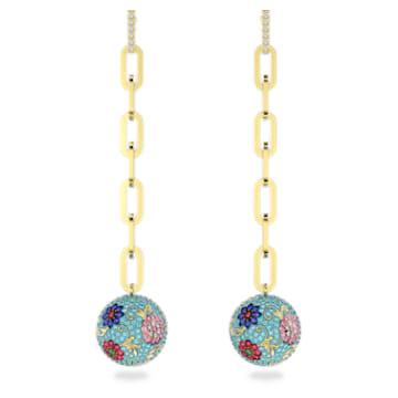 Flower of Fortune Pierced Earrings, Flower, Multicolor, Gold-tone plated - Swarovski, 5599486
