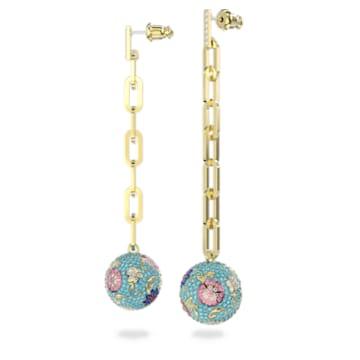 Flower of Fortune 穿孔耳環, 花朵, 漸層色, 鍍金色色調 - Swarovski, 5599486