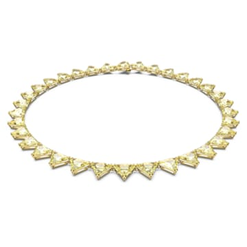 Millenia 项链, 三棱形切割仿水晶, 黄色, 镀金色调 - Swarovski, 5599487