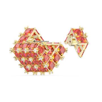 Curiosa stud earring, Single, Orange, Gold-tone plated - Swarovski, 5599826
