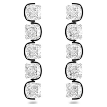Brincos compridos Harmonia, Cristais flutuantes de lapidação cushion, Branco, Acabamento de combinação de metais - Swarovski, 5600043