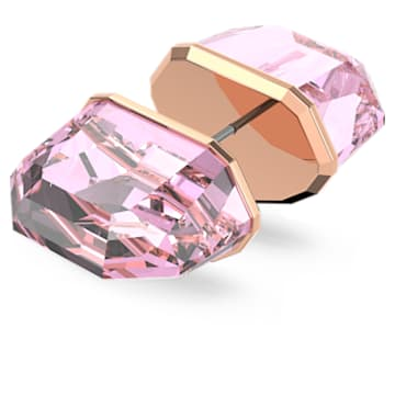 Lucent stud earring, Single, Pink, Rose-gold tone plated - Swarovski, 5600254