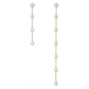 Constella 穿孔耳环, 不对称, 白色, 镀金色调 - Swarovski, 5600490