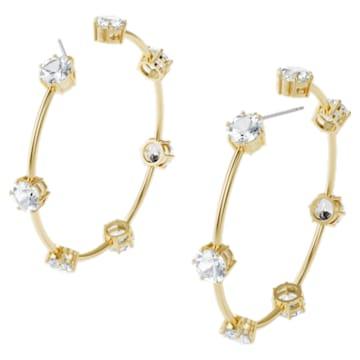 Constella hoop earrings, White, Gold-tone plated - Swarovski, 5600492