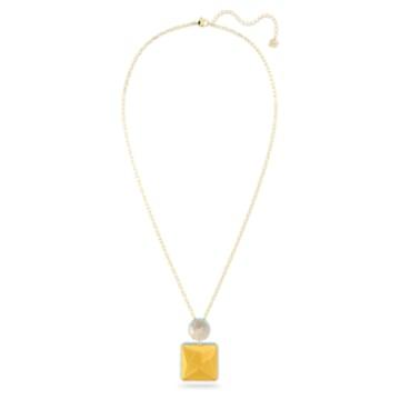 Colar Orbita, Cristal de lapidação quadrada, Branco, Lacado a dourado - Swarovski, 5600513