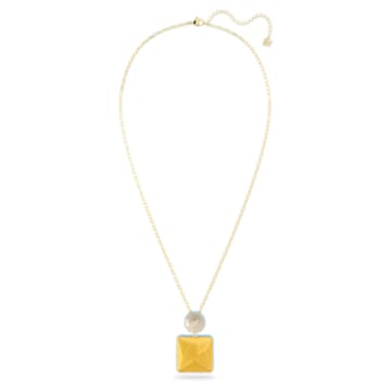 Orbita 项链, 正方形切割仿水晶, 白色, 镀金色调 - Swarovski, 5600513