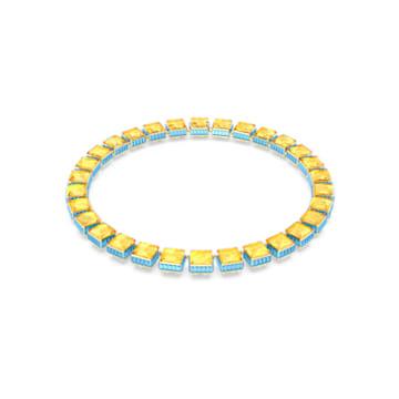Orbita necklace, Square cut crystal, White, Gold-tone plated - Swarovski, 5600515