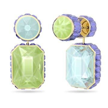 Pendientes Orbita, Asimétrico, Cristal de talla octogonal, Blanco, Baño tono oro - Swarovski, 5600519
