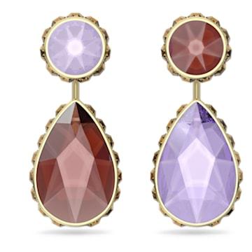 Orbita earrings, Asymmetrical, Drop cut crystals , Multicoloured, Gold-tone plated - Swarovski, 5600523