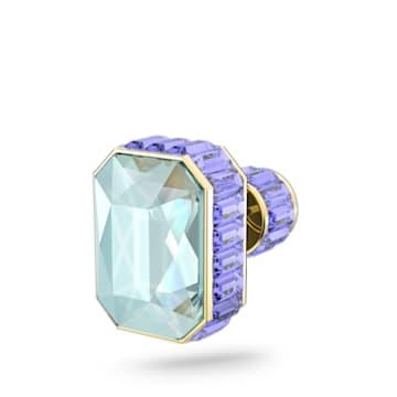 Orbita stud earring, Single, Octagon cut crystal, Multicoloured, Gold-tone plated - Swarovski, 5600526