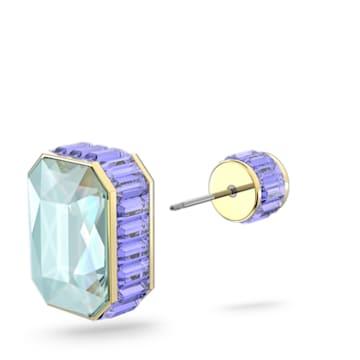 Orbita fülbevaló, Egy, Nyolcszögmetszésű kristály, Többszínű, Aranytónusú bevonattal - Swarovski, 5600526
