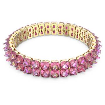 Chroma 束颈项链, 钉状仿水晶, 粉红色, 镀金色调 - Swarovski, 5600620