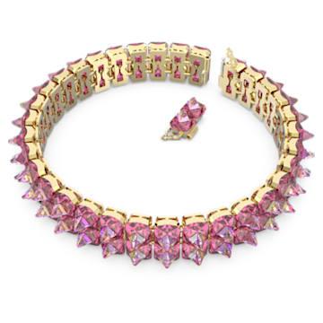Gargantilha Chroma, Cristais de lapidação pontiaguda, Rosa, Lacado a dourado - Swarovski, 5600620