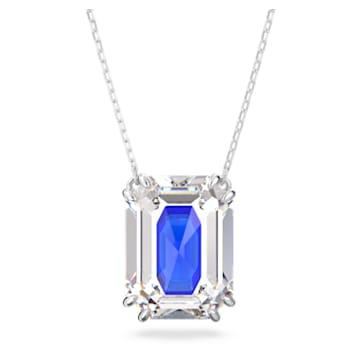 Chroma 链坠, 八角形切割仿水晶, 蓝色, 镀铑 - Swarovski, 5600625