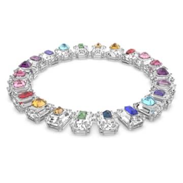 Chroma choker, Oversized crystals, Multicoloured, Rhodium plated - Swarovski, 5600626