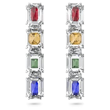 Chroma clip earrings, Oversized crystals, Multicoloured, Rhodium plated - Swarovski, 5600628