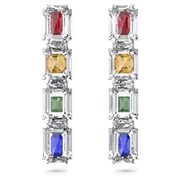 Pendientes de clip Chroma, Cristales de gran tamaño, Multicolor, Baño de rodio - Swarovski, 5600628